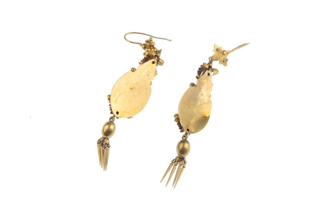 A pair of mid Victorian gold gem-set earrings. Each - 2