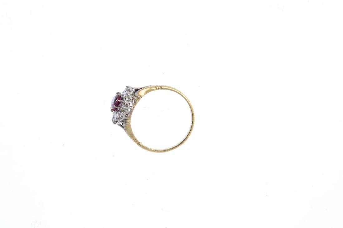 A Thai ruby and diamond cluster ring. The oval-shape - 2
