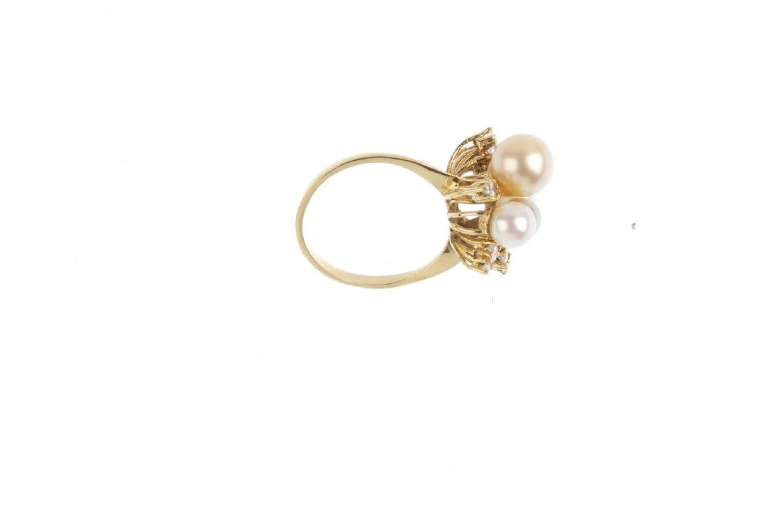 A cultured pearl and diamond dress ring. Designed as a - 2