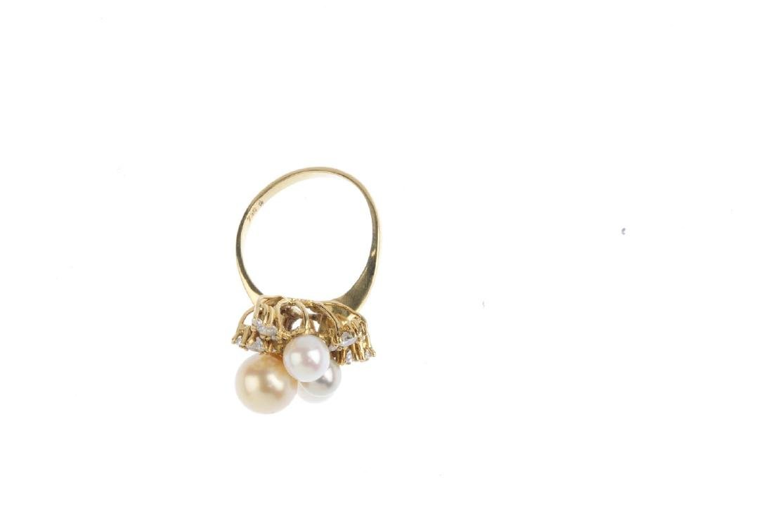 A cultured pearl and diamond dress ring. Designed as a - 3