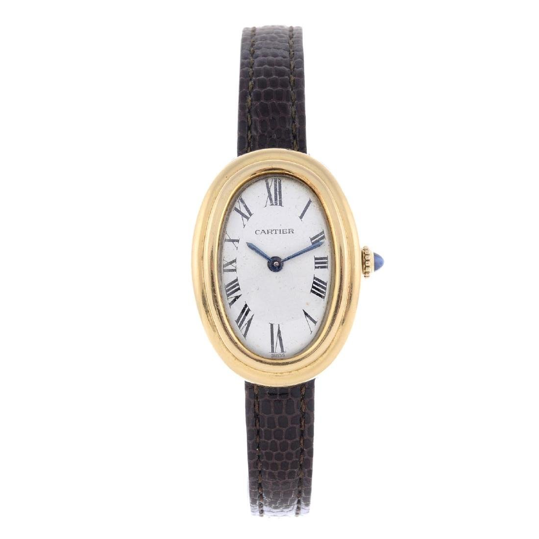 CARTIER - a Baignoire wrist watch. 18ct yellow gold