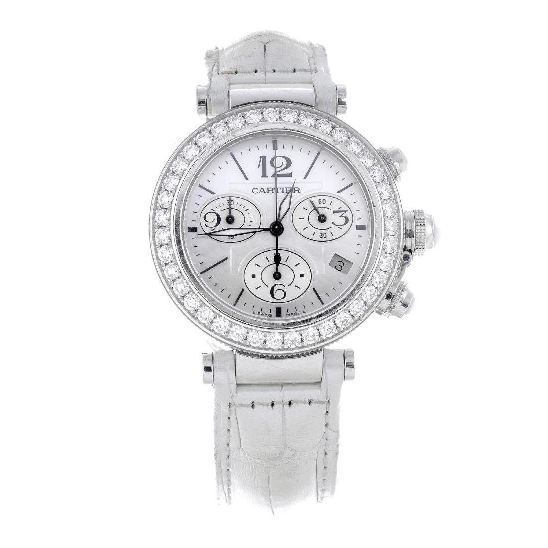 CARTIER - a Pasha chronograph wrist watch. 18ct white