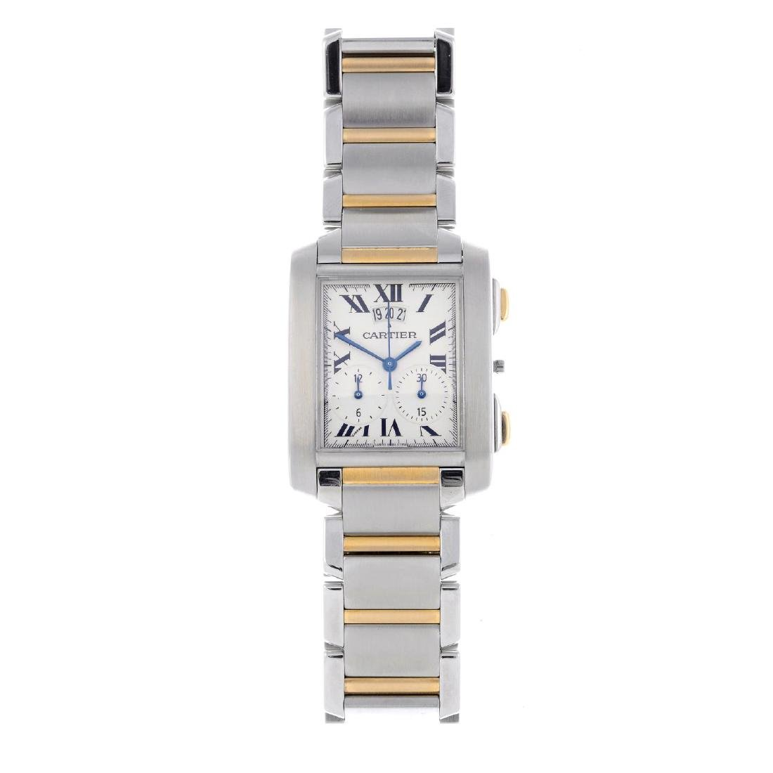 CARTIER - a Tank Francaise chronograph bracelet watch.