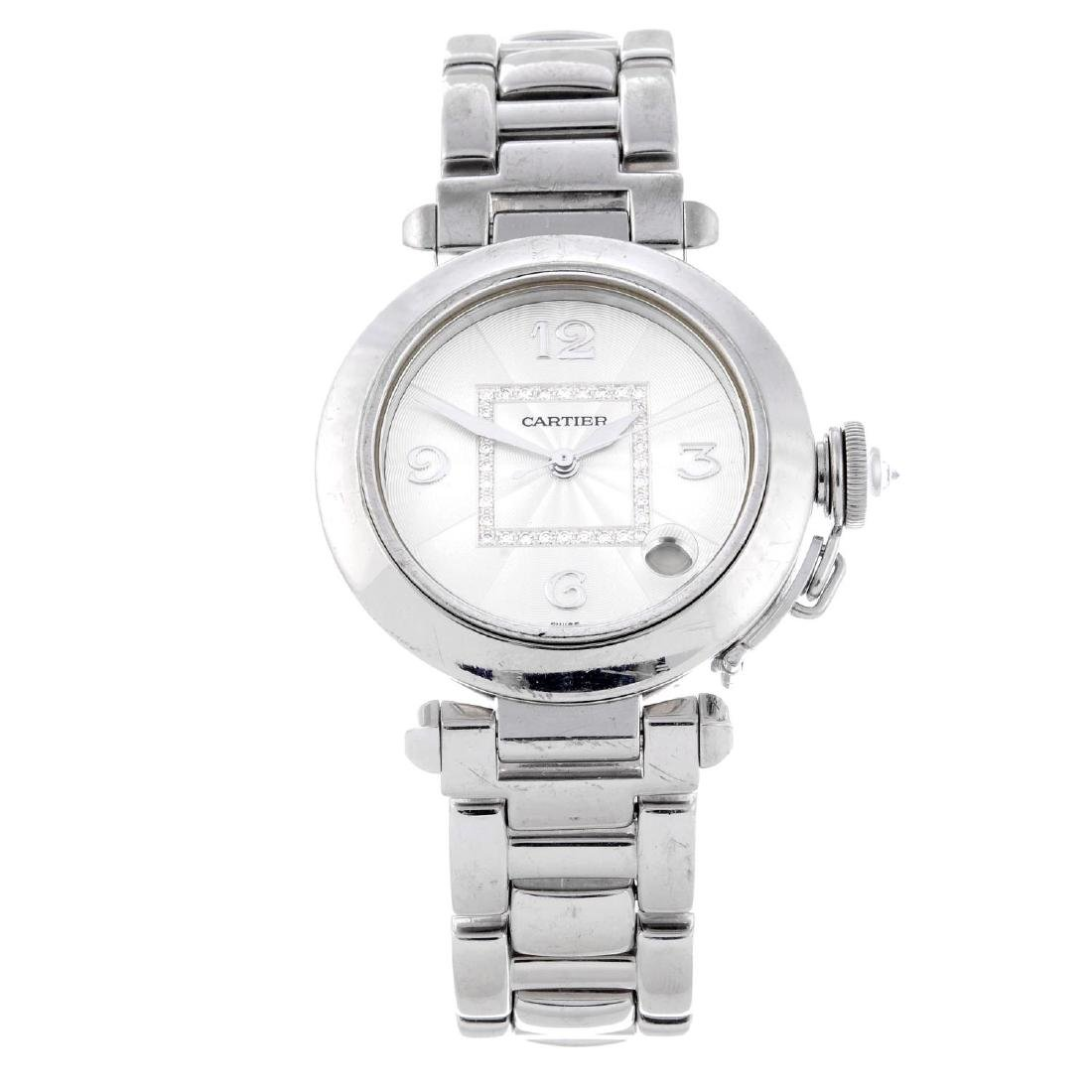 CARTIER - a Pasha bracelet watch. 18ct white gold case.