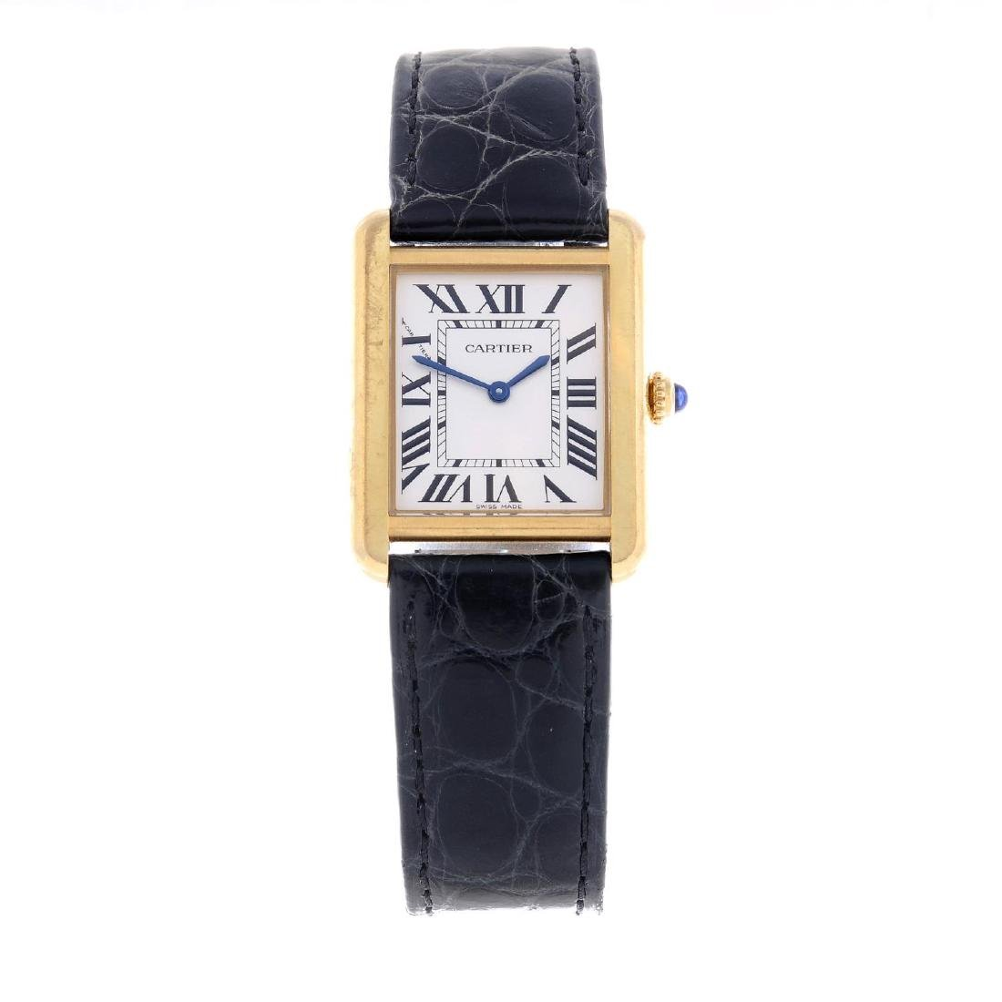CARTIER - a Tank Solo wrist watch. Yellow metal case