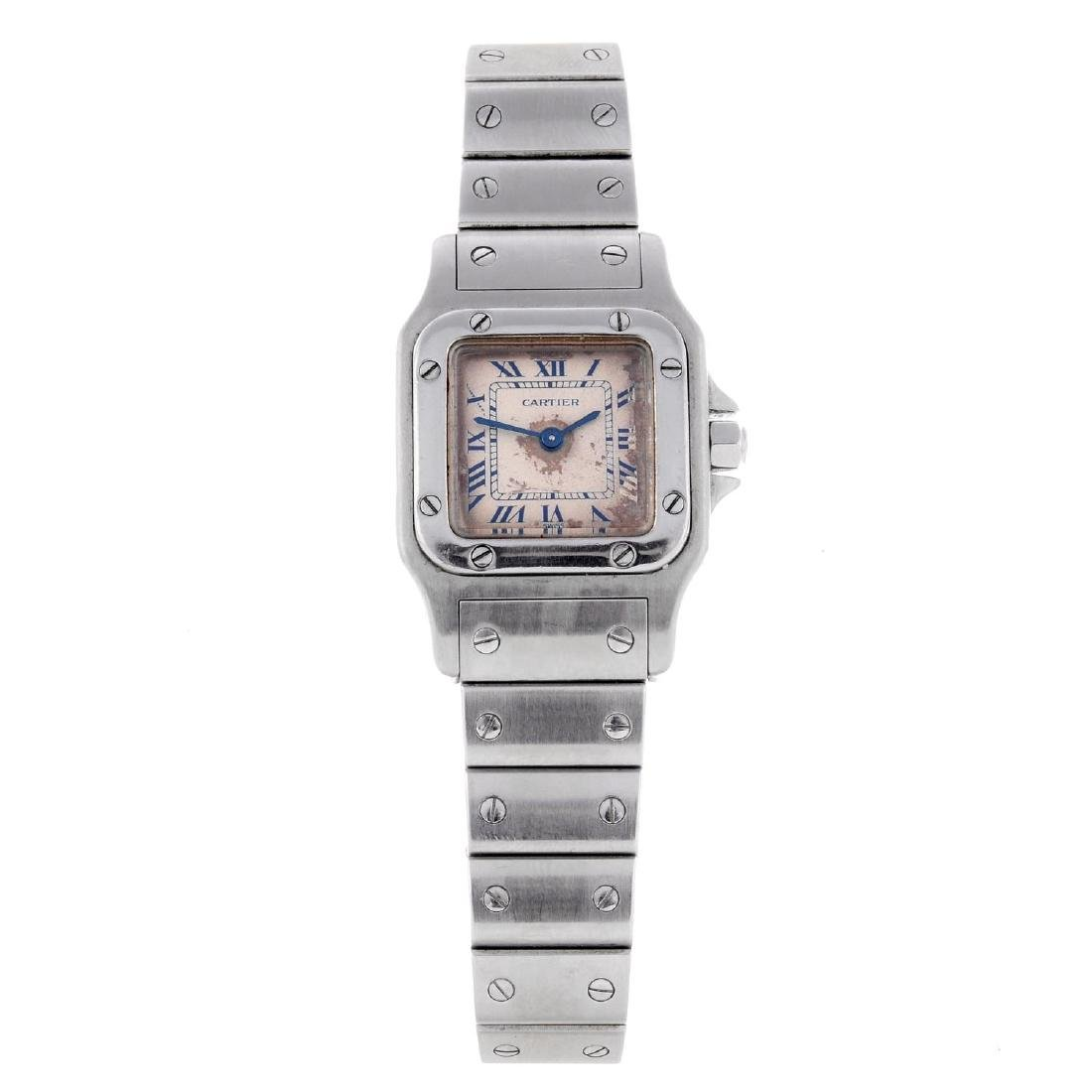 CARTIER - a Santos bracelet watch. Stainless steel