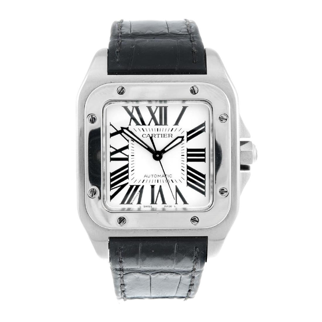 CARTIER - a Santos 100 wrist watch. Stainless steel