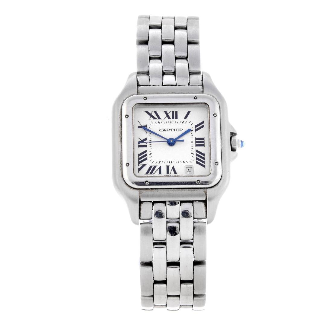 CARTIER - a Panthere bracelet watch. Stainless steel