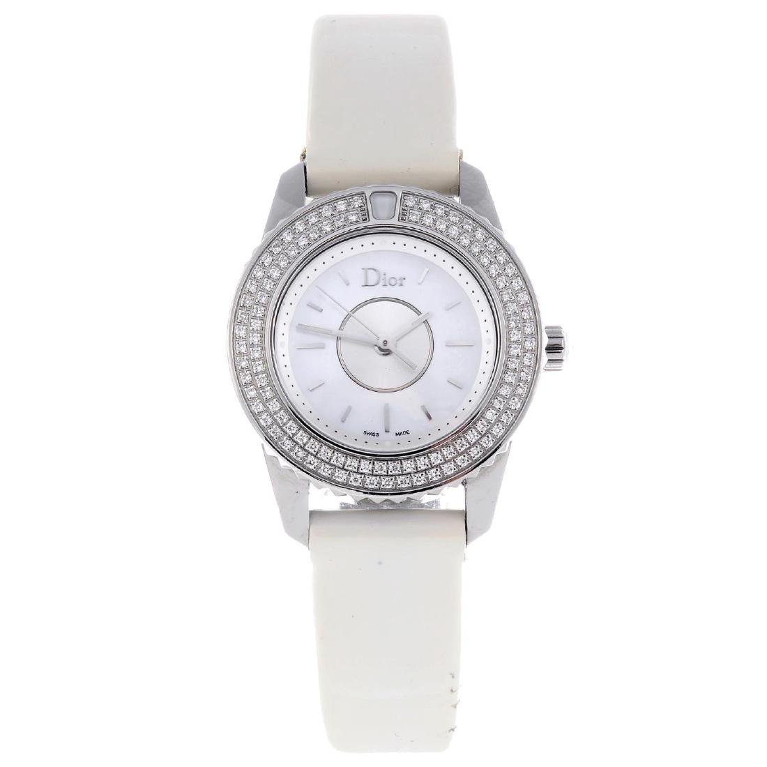 DIOR - a lady's Christal wrist watch. Stainless steel
