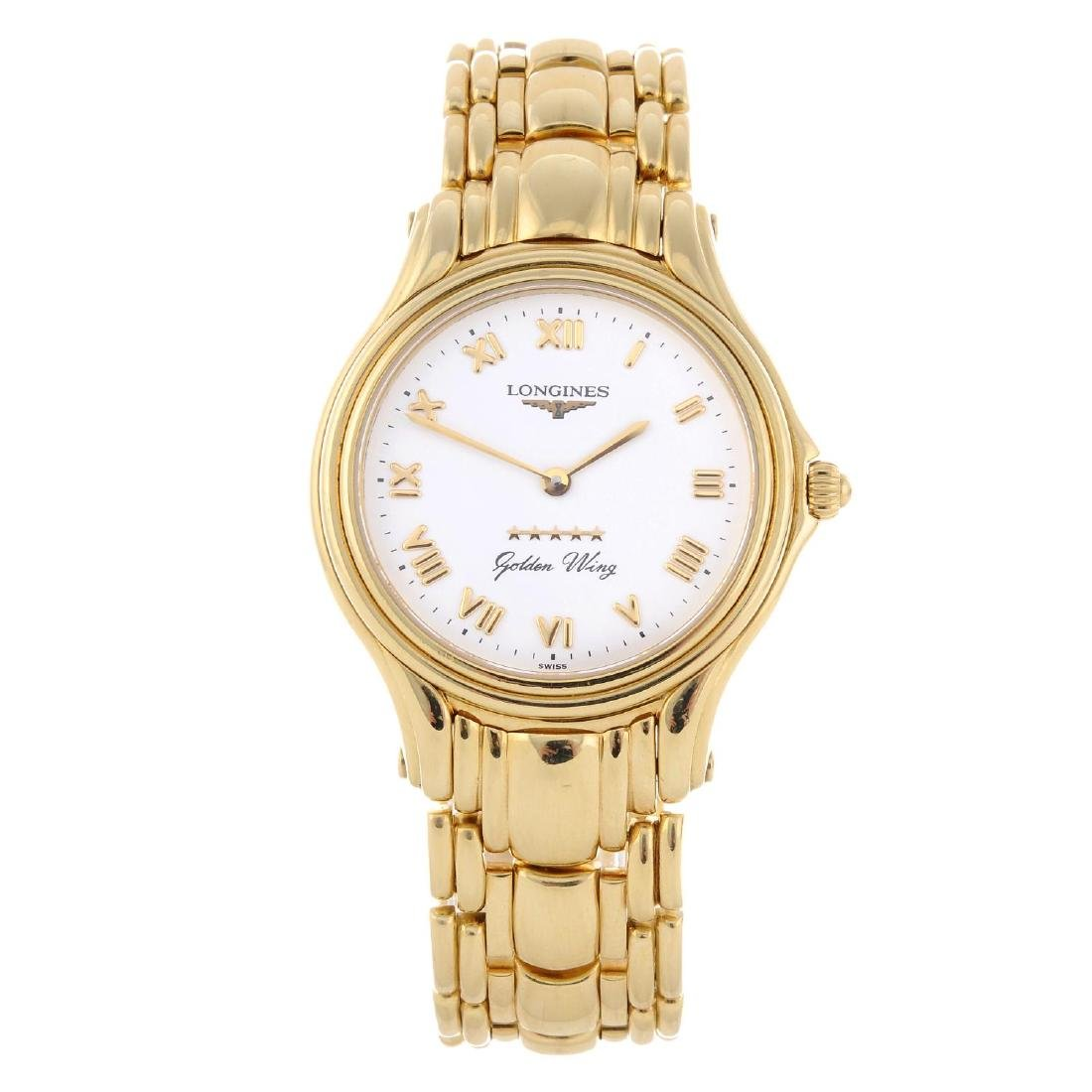 LONGINES - a gentleman's Golden Wing bracelet watch.