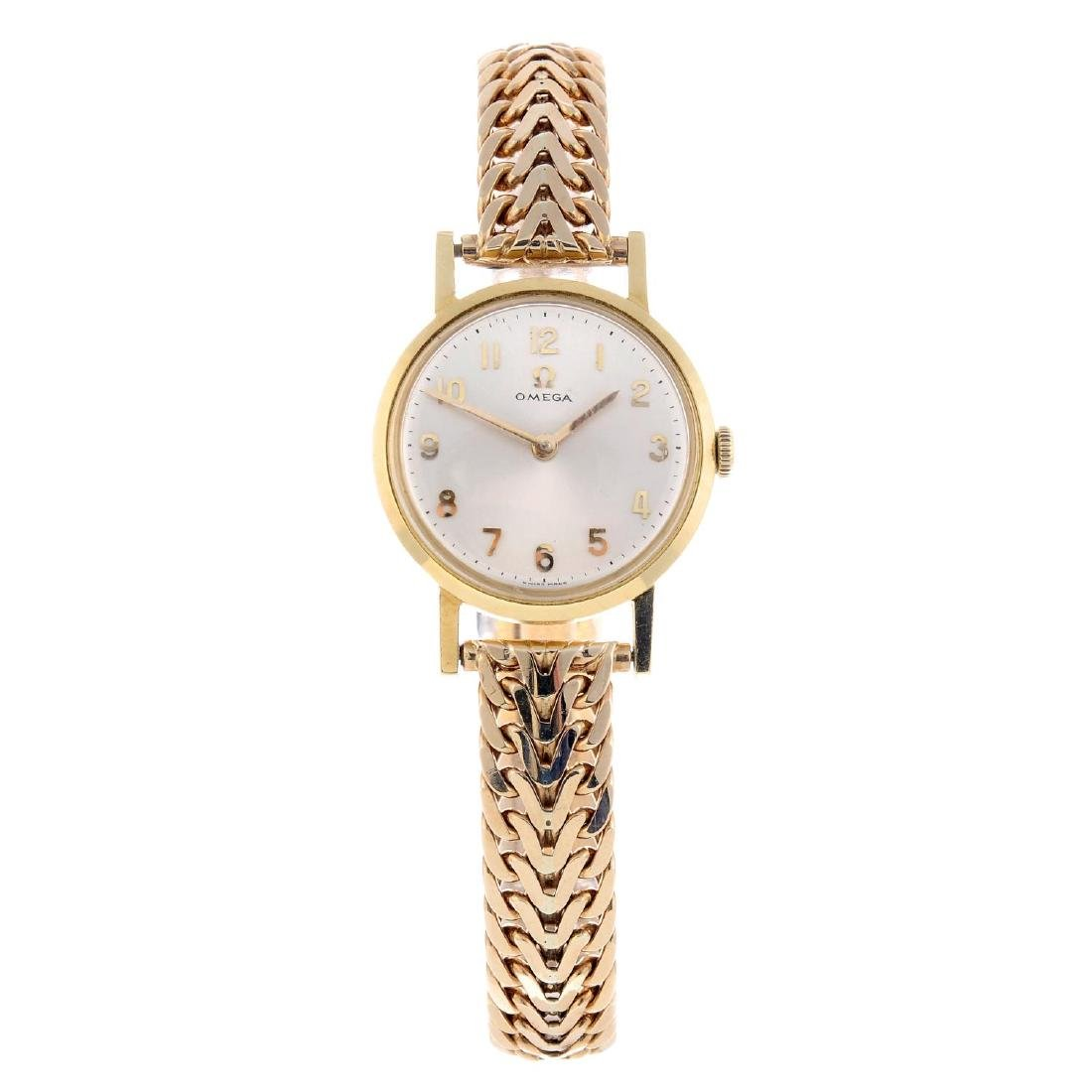 OMEGA - a lady's bracelet watch. 18ct yellow gold case,
