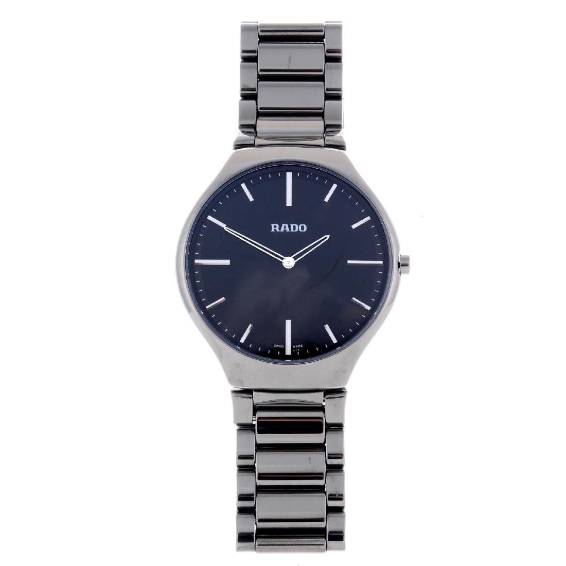 RADO - a gentleman's True Thinline bracelet watch.