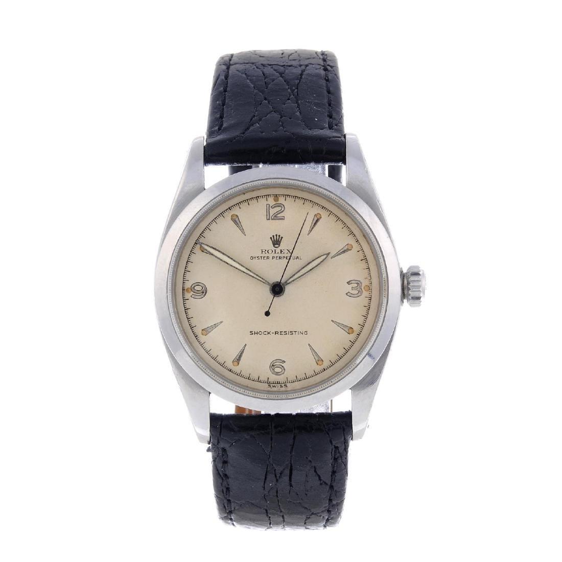 ROLEX - a gentleman's Oyster Perpetual wrist watch.