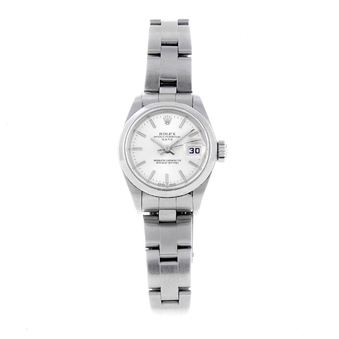 ROLEX - a lady's Oyster Perpetual Date bracelet watch.