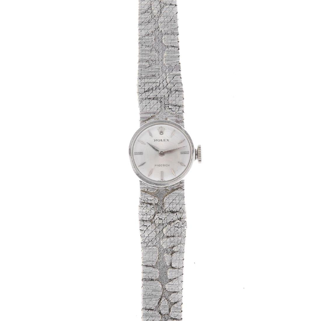 ROLEX - a lady's Precision bracelet watch. 9ct white