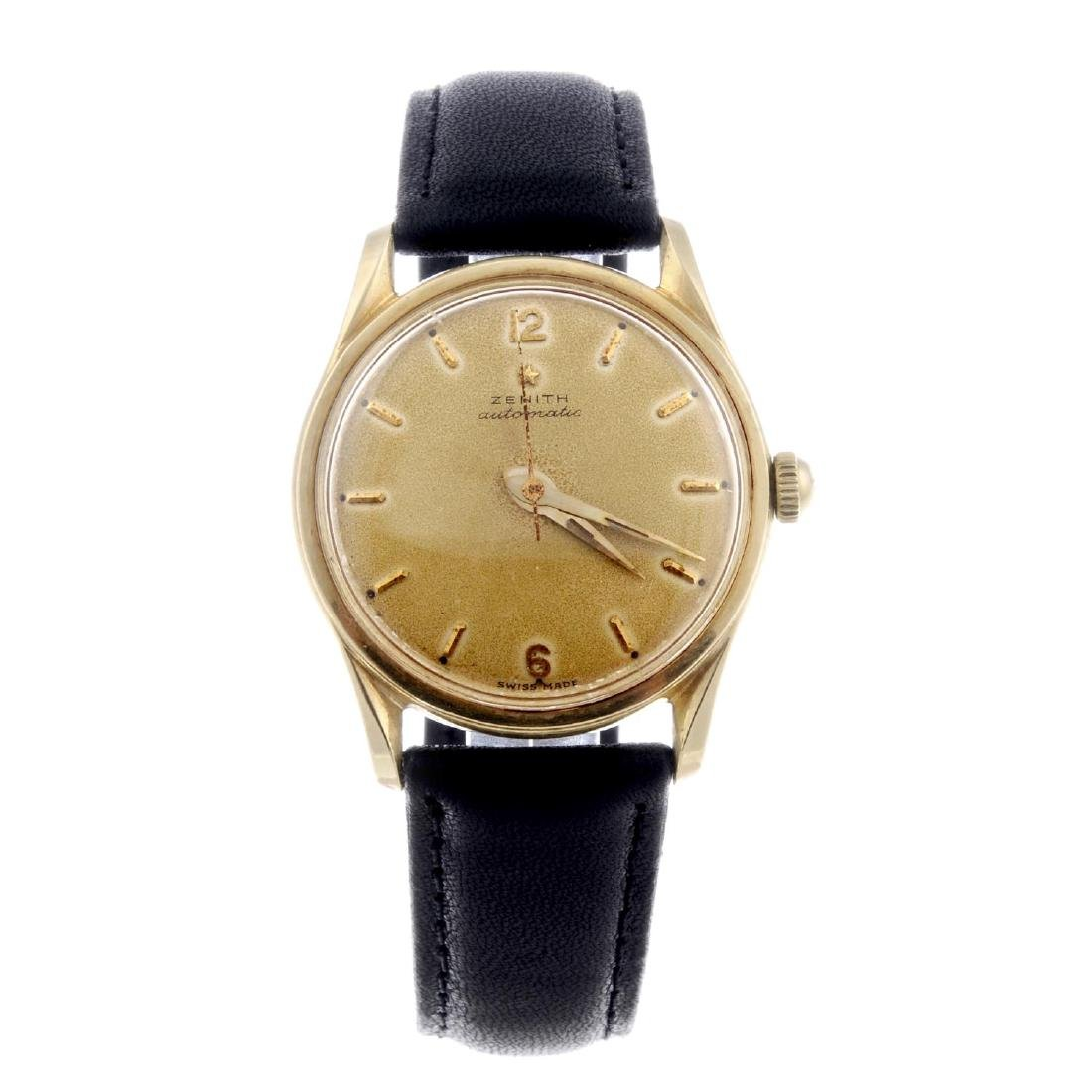 ZENITH - a gentleman's wrist watch. Yellow metal case,