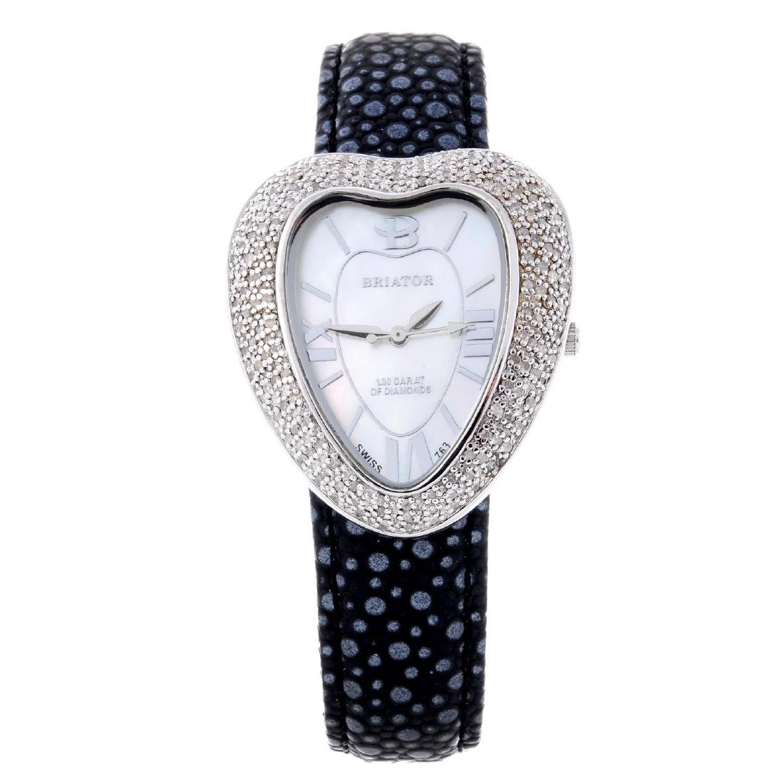 BRIATOR - a lady's white metal wrist watch. White metal