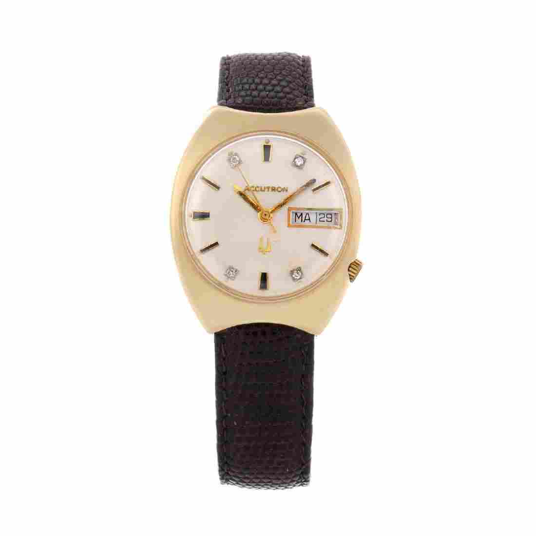 BULOVA - a gentleman's Accutron wrist watch. Yellow