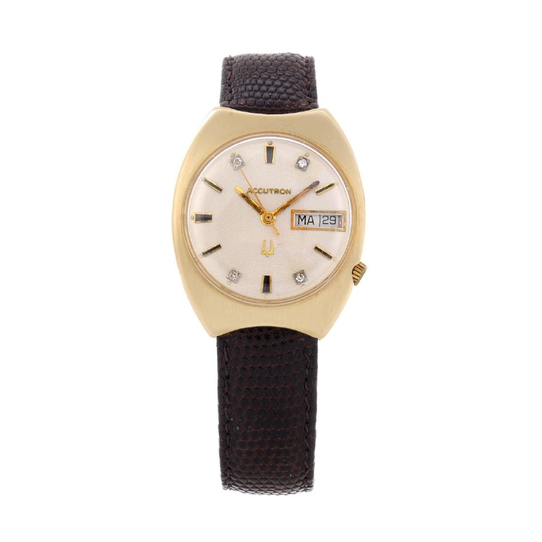 BULOVA - a gentleman's Accutron wrist watch. Yellow