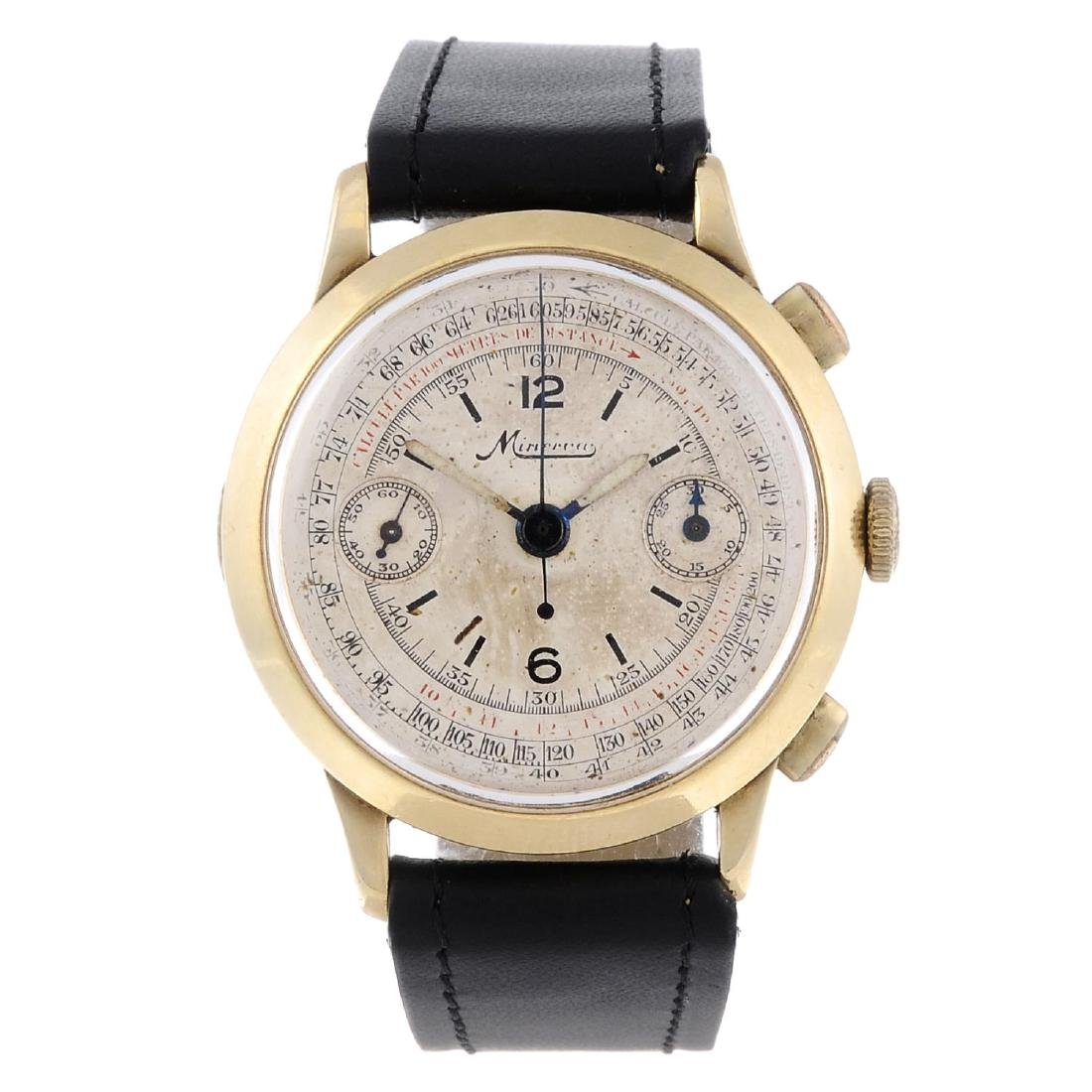 MINERVA - a gentleman's chronograph wrist watch. Yellow