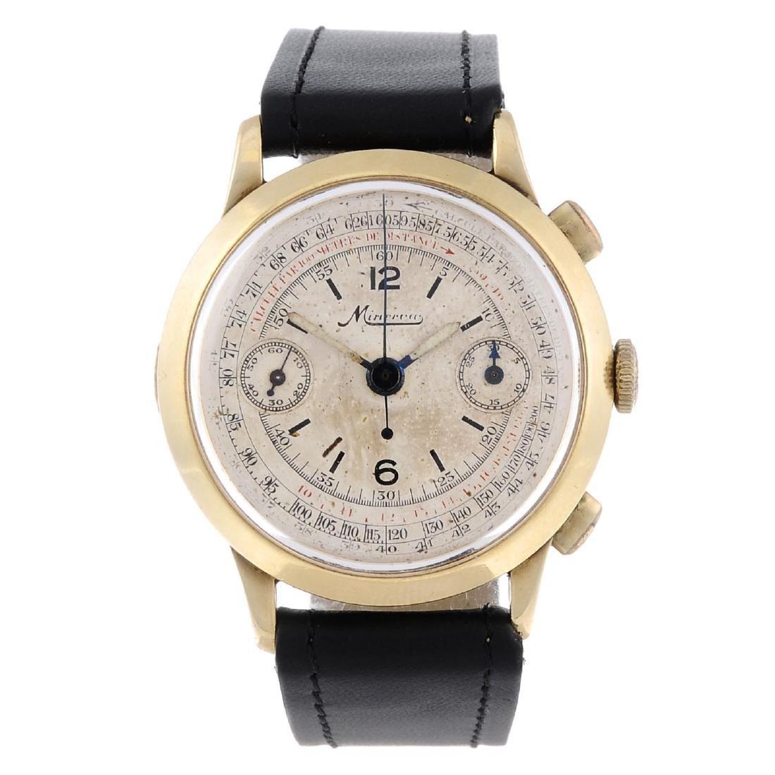 MINERVA - a gentleman's chronograph wrist watch. Yellow