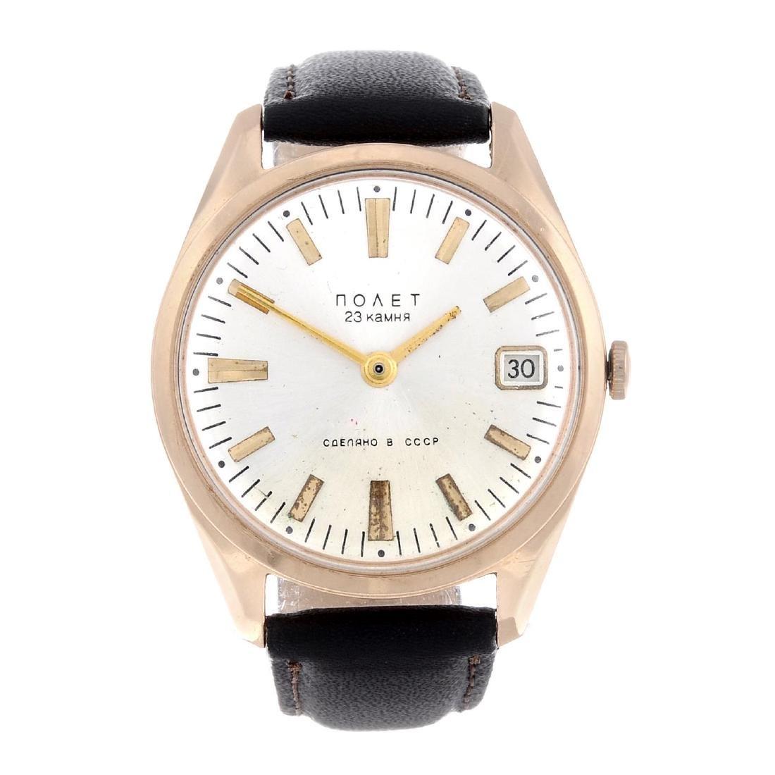 POLJOT- a gentleman's wrist watch. Rose metal case,