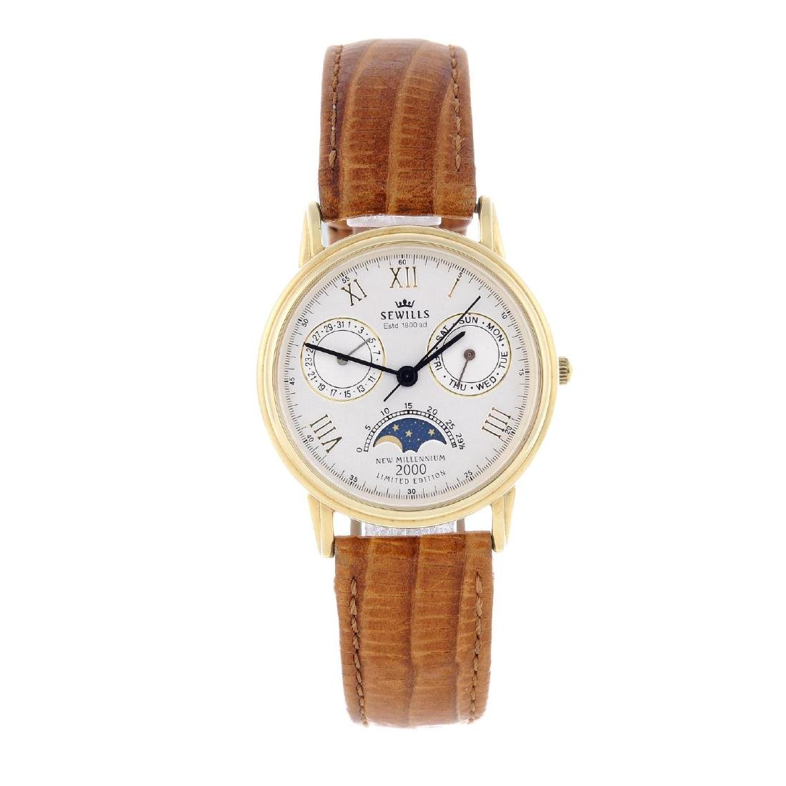SEWILLS - a gentleman's wrist watch. 14ct yellow gold