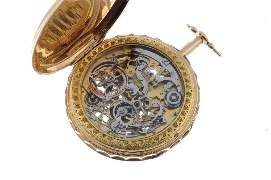 An open face quarter repeater pocket watch signed - 3