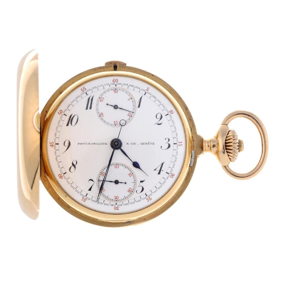A full hunter chronograph pocket watch by Patek