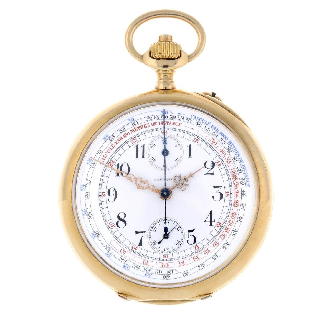 An open face chronograph pocket watch by Longines.