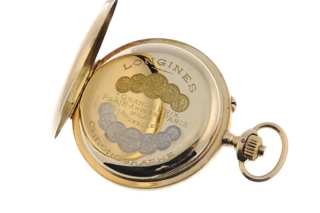 An open face chronograph pocket watch by Longines. - 3