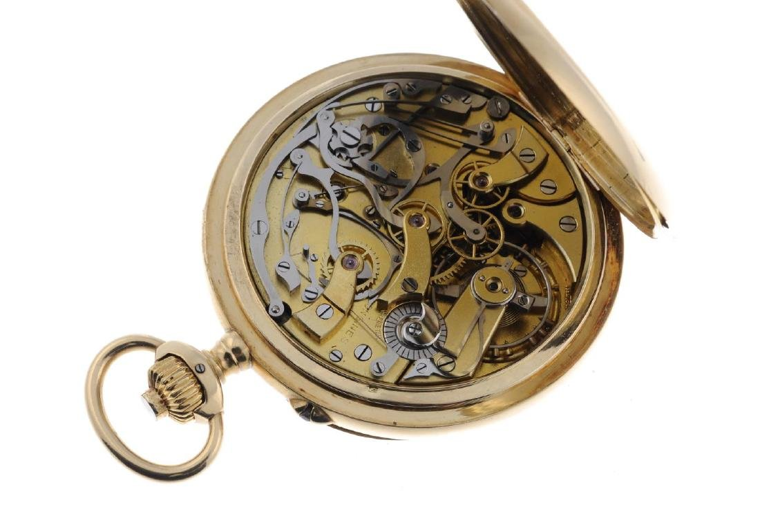 An open face chronograph pocket watch by Longines. - 4