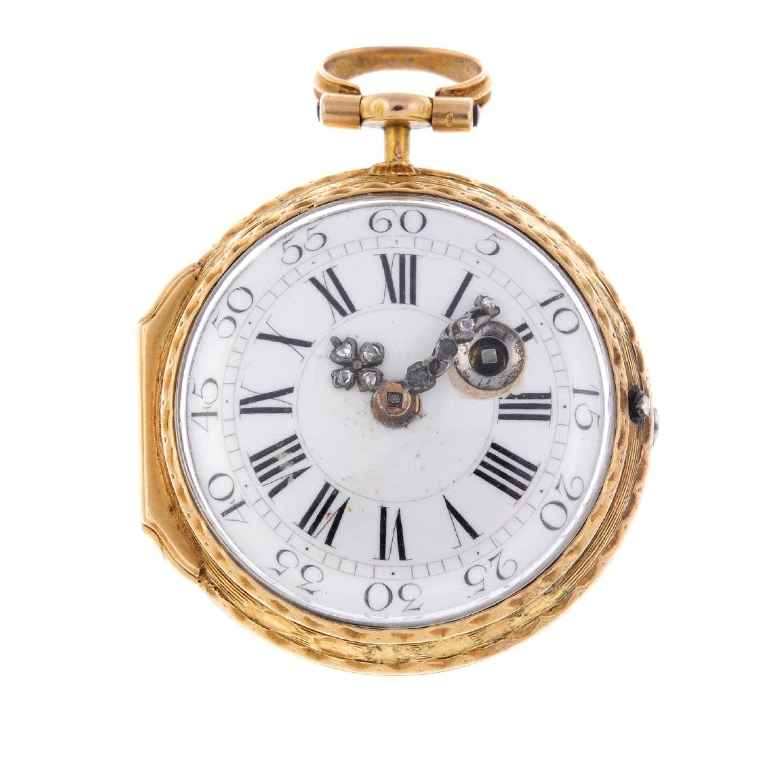 An open face fob watch by Romilly. Gilt case with