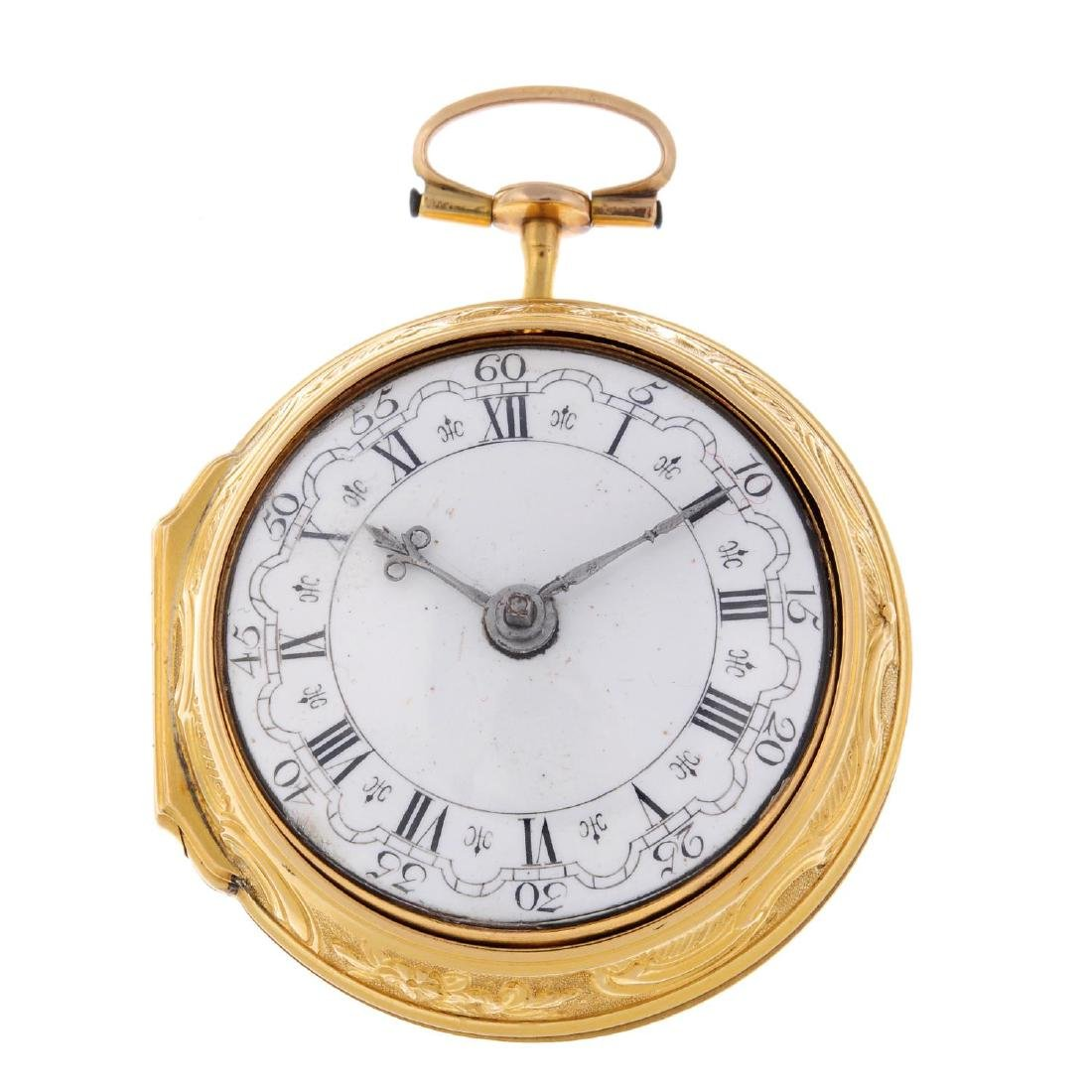 A pair case pocket watch by Freshfield, London.  Yellow