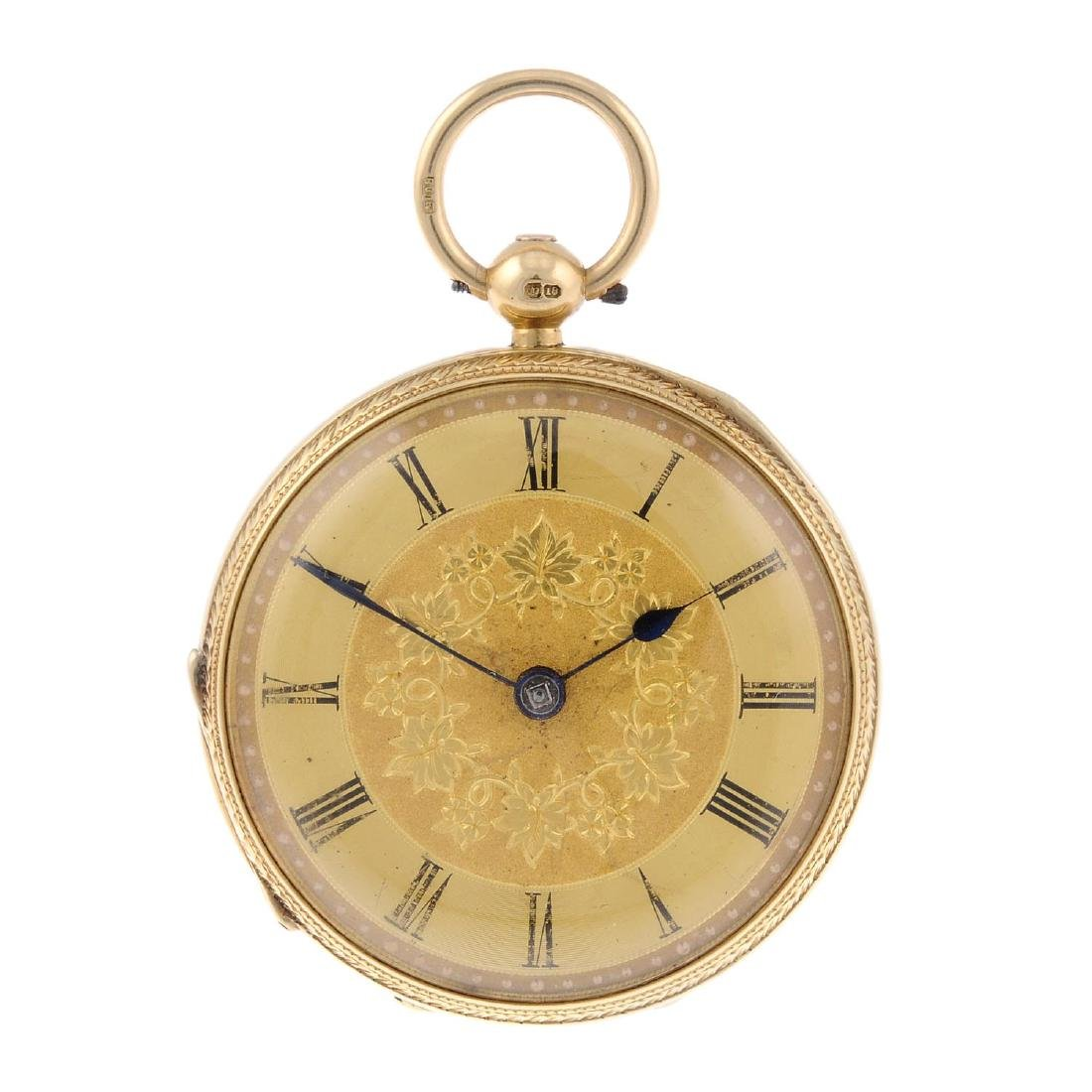 An open face pocket watch. 18ct yellow gold case,