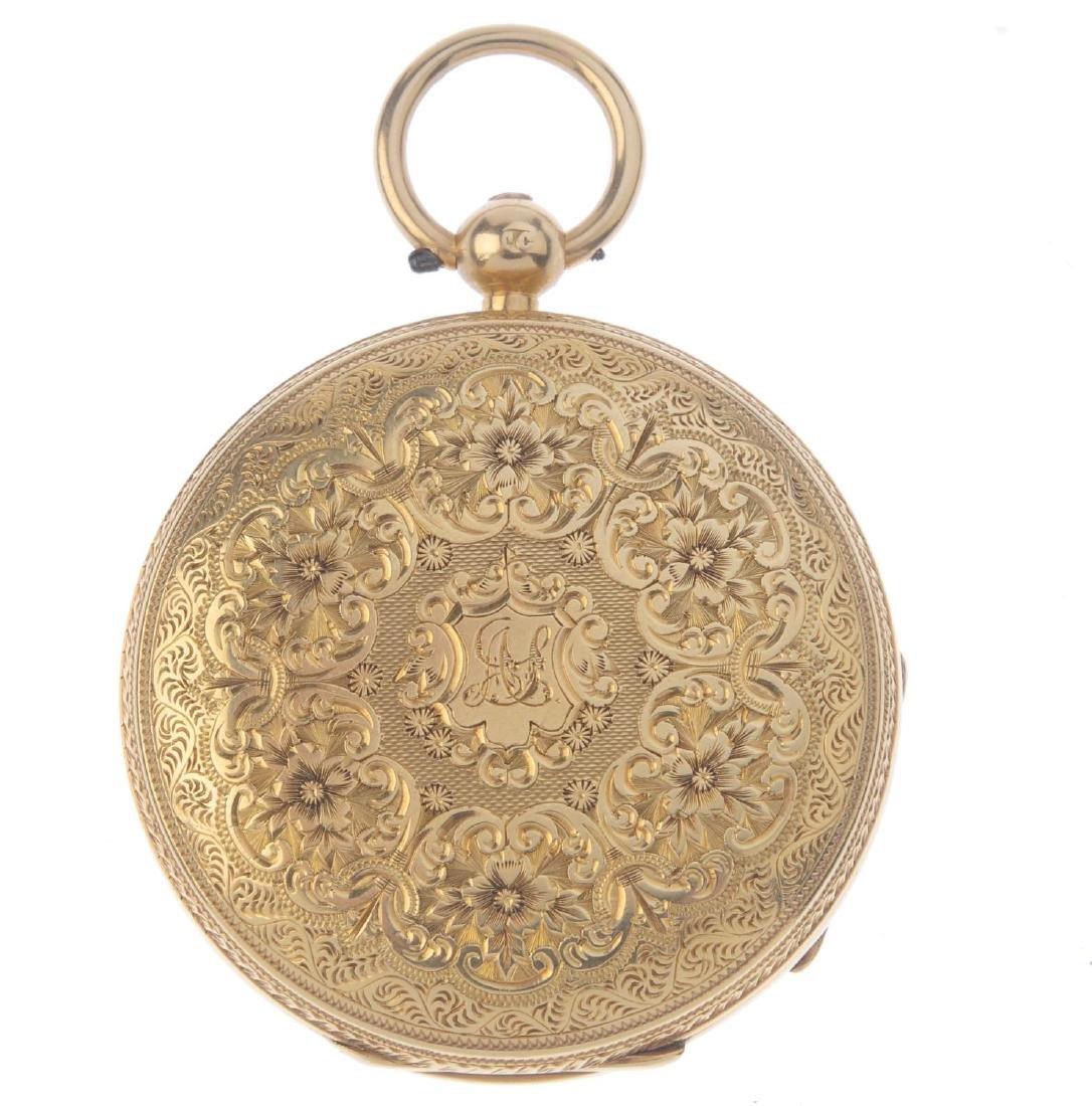 An open face pocket watch. 18ct yellow gold case, - 2