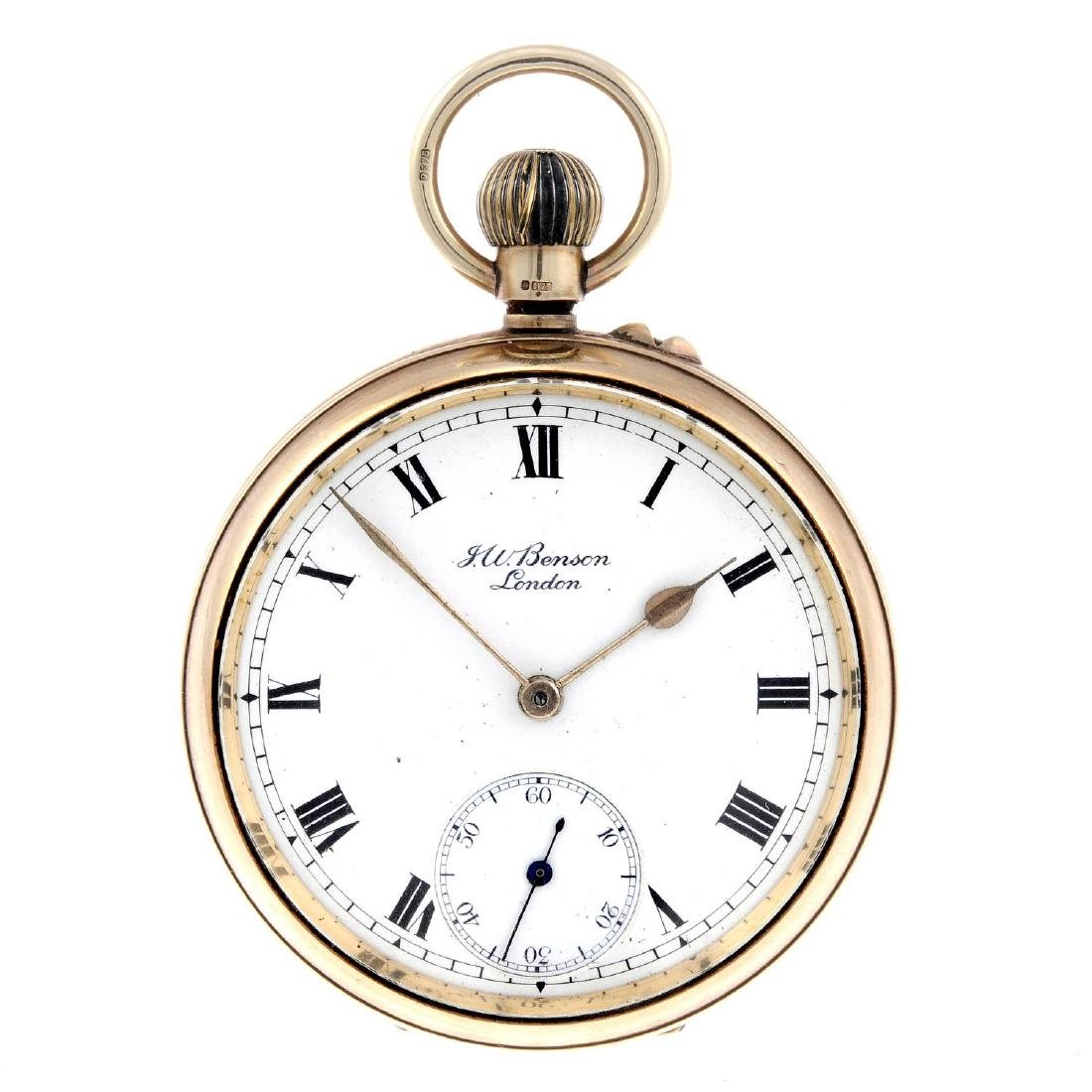 An open face pocket watch by J.W Benson. 9ct yellow