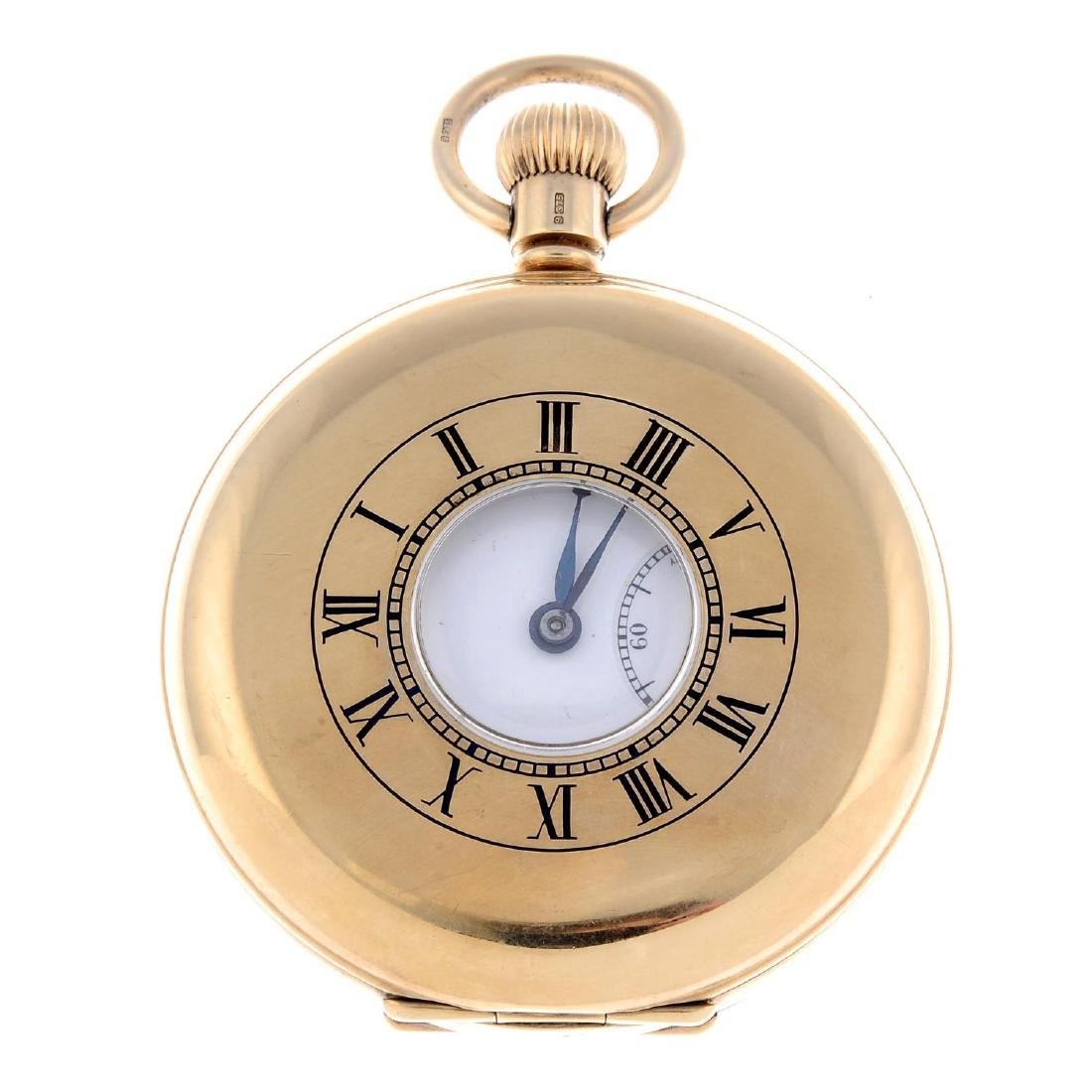 A half hunter pocket watch by J.W Benson. 9ct yellow