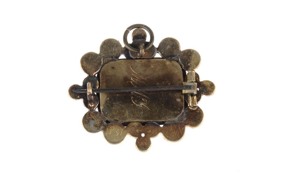 An early Victorian garnet and hair memorial brooch. Of - 2