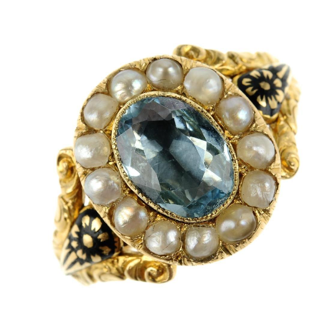 An early Victorian 18ct gold aquamarine, split pearl