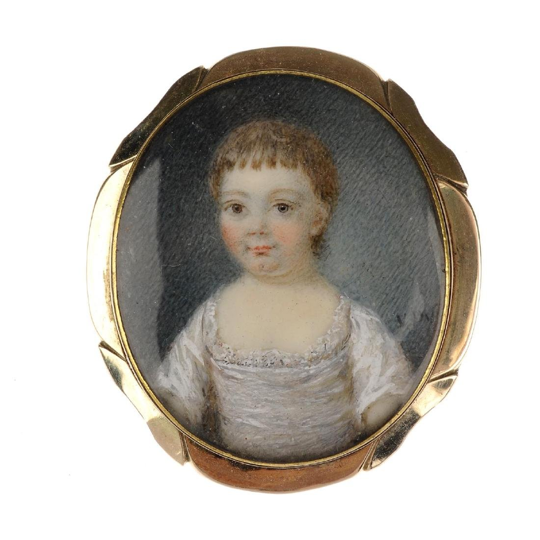 A mid Victorian gold portrait brooch. Of oval outline,