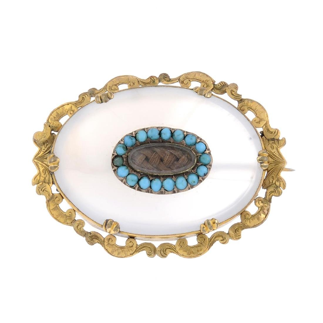 A late Victorian chalcedony and turquoise memorial