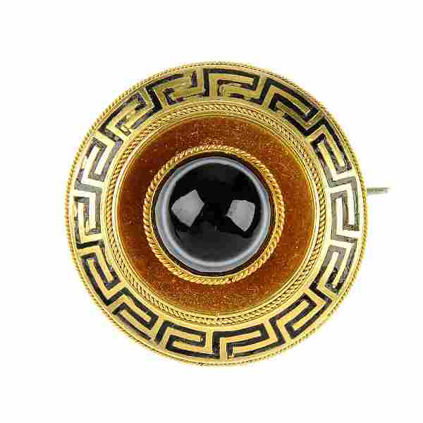 A late Victorian gold banded agate memorial brooch. Of