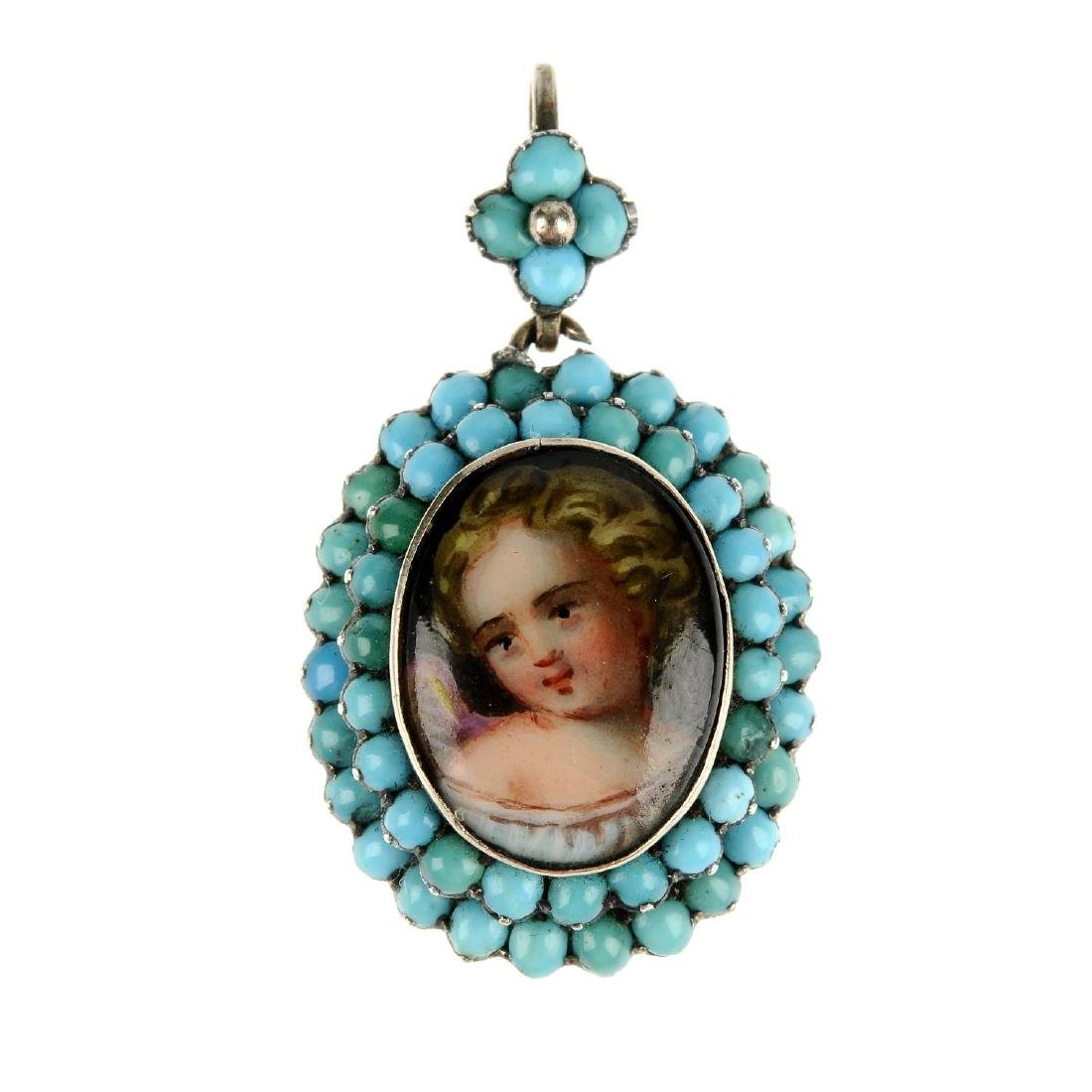 A late Victorian turquoise memorial pendant. Of oval