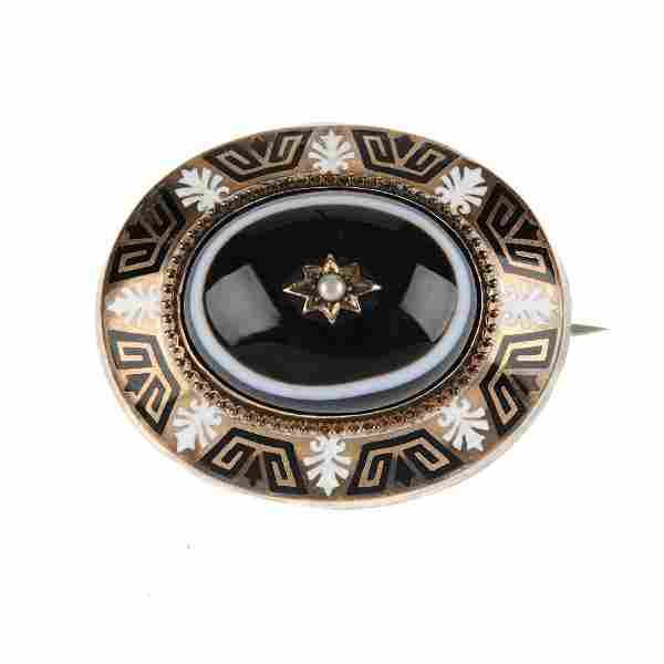 A late Victorian banded agate, split pearl and enamel