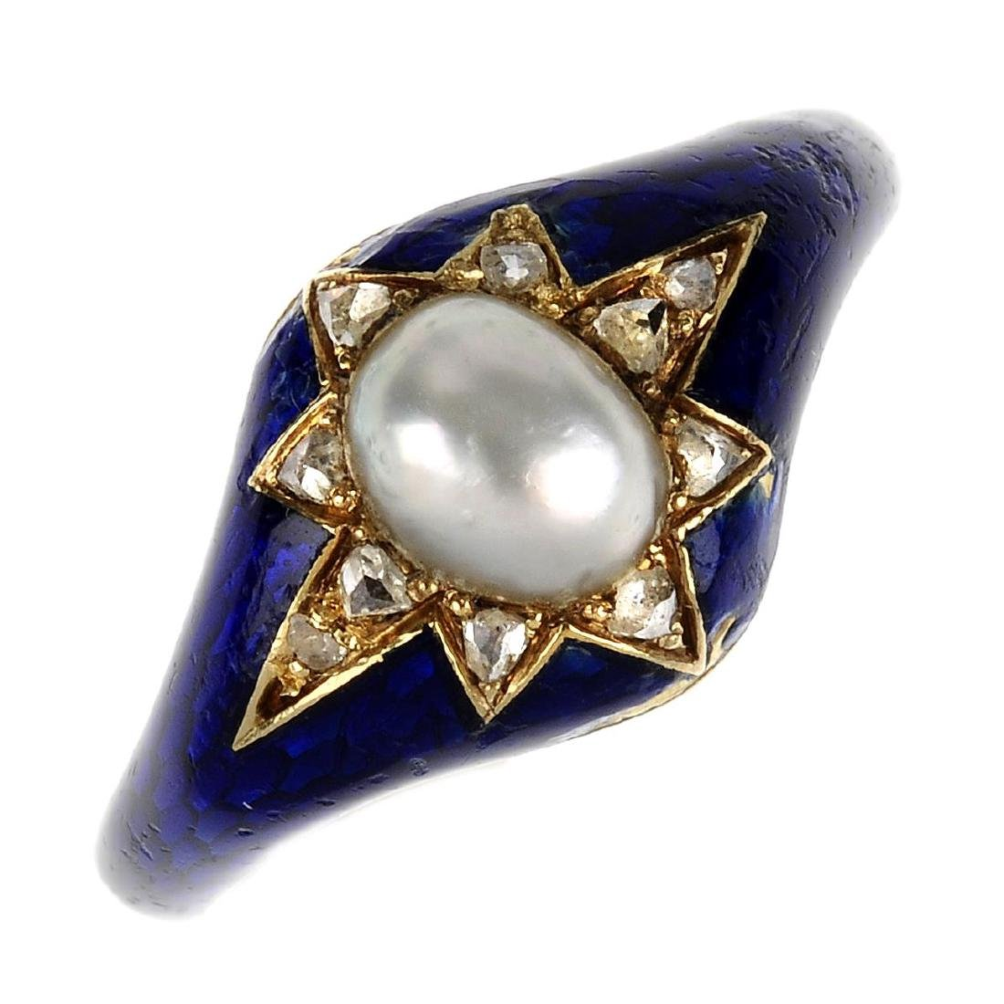 A mid Victorian diamond, split pearl and enamel ring.