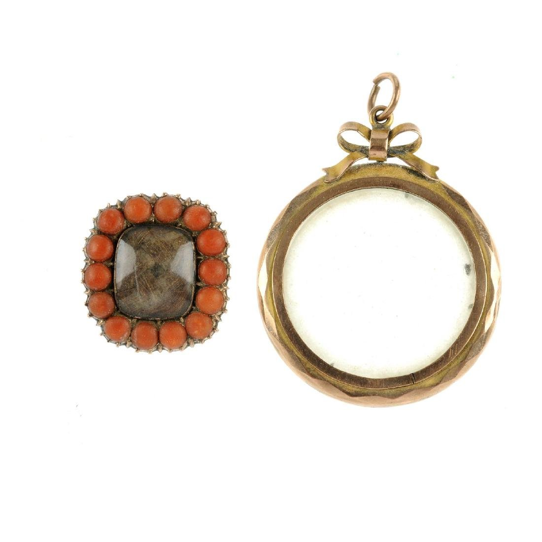 A mid Victorian coral memorial brooch and an Edwardian