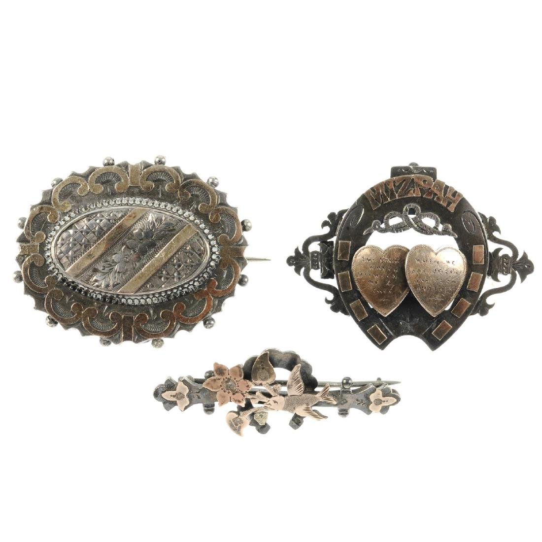 Ten late 19th to early 20th century silver brooches. To