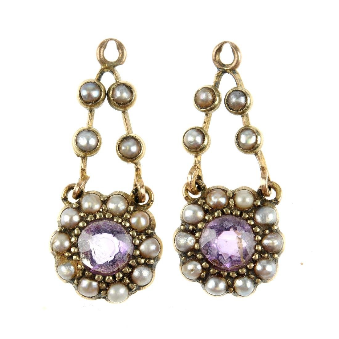 A pair of early 20th century gold amethyst and split