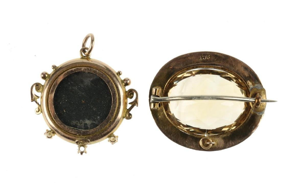An early 20th century 9ct gold citrine brooch and - 2